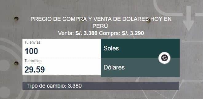 Precio de compra y precio de venta del dolar en Peru